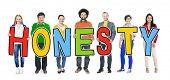 foto of honesty  - Group of Diverse People Holding Honesty - JPG