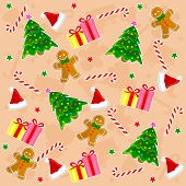 pic of christmas hat  - Christmas seamless pattern with santa hat candy cane christmas stars gingerbread gifts and colorful christmas tree - JPG