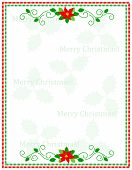stock photo of poinsettia  - Retro striped frame with red and green stripes and poinsettia flowers with merry christmas letters - JPG