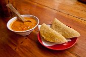 picture of chillies  - Two delicious morocho empanadas served with chilli sauce - JPG