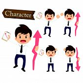 image of descending  - Businessman character present growing and present descending set vector - JPG