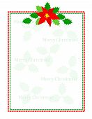 pic of poinsettia  - Retro striped frame with red and green stripes and poinsettia flowers with merry christmas letters - JPG