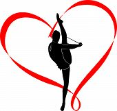stock photo of gymnastic  - logo gymnast girl athlete in the heart of red ribbon - JPG
