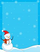 foto of snow border  - A border illustration featuring a smiling snowman with falling snow on clean blue background - JPG