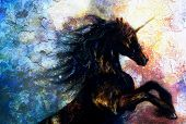 image of unicorn  - painting on canvas of a black unicorn dancing in space crackle desert effect - JPG