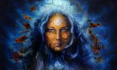 pic of mystical  - mystic face women with structure crackle background effect with star on forehead collage - JPG