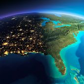 image of gulf mexico  - Highly detailed planet Earth - JPG