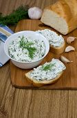 image of curd  - Slices of baguette with cottage cheese parsley garlic on a cutting board - JPG