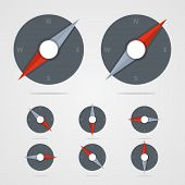 image of gps navigation  - Set of compass icons with different direction in flat style - JPG