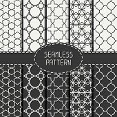 stock photo of attic  - Set of geometric monochrome lattice seamless arabic pattern - JPG