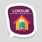picture of dog-house  - Pet Dog House Flat Icon With Long Shadow - JPG