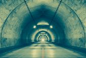 stock photo of tunnel  - Interior of an urban tunnel at mountain without traffic - JPG