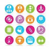 stock photo of microchips  - set of 16 business management icons - JPG