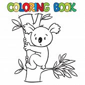 stock photo of koala  - Coloring book or coloring picture with funny koala bear on eucaliptus tree - JPG