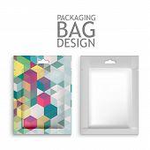 stock photo of sachets  - Mockup Blank Foil Packaging Sachet for Tea - JPG