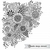 stock photo of pattern  - Floral retro doodle black and white pattern  in vector - JPG
