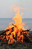 stock photo of bonfire  - big bonfire on the seaside in the nature - JPG