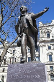 stock photo of prime-minister  - A statue of former British Prime Minister David Lloyd George situated on Parliament Square in London - JPG