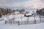 stock photo of winter scene  - Winter landscape with snow in mountains Carpathians - JPG
