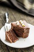 Sweet chocolate dessert on dessert plate. poster