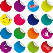 stock photo of happy-face  - Set  of color stickers - JPG