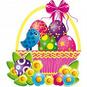 stock photo of pasqua  - Easter basket with pink bow and a cute chicken - JPG