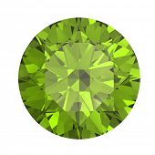 stock photo of peridot  - Round peridot isolated on white background - JPG
