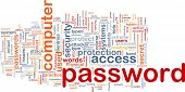 Background concept wordcloud illustration of password
