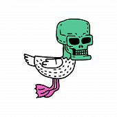 Dead Duck Drawning. Drake With Skull Cartoon Style poster