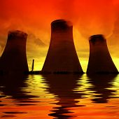 Global warming - The tide is rising on a power plant at sunset...