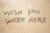 Постер, плакат: Жаль что вы здесь были рукописные в песок для природных символ туризма или концептуального проектирования