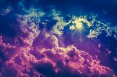 Landscape Of Cloudscape Background. Colorful Sky With Sunbeam In Dark Clouds. poster