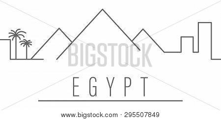 Egypt City Outline Icon Elements