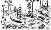 foto of paleozoic  - Many different animals of paleozoic era on the ground and in the water - JPG