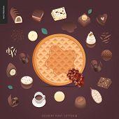 Dessert Font - Letter Q - Modern Flat Vector Concept Digital Illustration Of Temptation Font, Sweet  poster