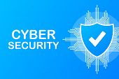 Cyber Security Vector Logo With Shield And Check Mark. Security Shield Concept. Internet Security. V poster