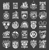 Vintage Summer Surfing Emblems With House Of Surf Club Shaka Hand Gesture Tiki Mask Sea Waves Ukulel poster