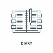 Diary Line Icon, Vector. Diary Outline Sign, Concept Symbol, Flat Illustration poster
