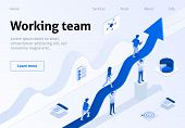 Working Team Metaphor Business Isometric Banner. Teamwork Success Concept. Group Of Employee Support poster