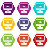 Monitor With Einstein Formula Icon Set Many Color Hexahedron Isolated On White Illustration poster