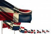 Wonderful Memorial Day Flag 3d Illustration  - Many Dominican Republic Flags Placed Diagonal Isolate poster