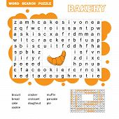 Search Words Game. Educational Children Activity With Sweets And Bakery Products. Cartoon Illustrati poster