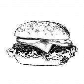 stock photo of hand drawn  - black and white hamburger with meat lettuce cheese and tomato - JPG