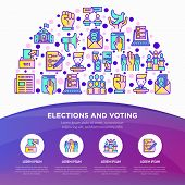 Election And Voting Concept In Half Circle With Thin Line Icons: Ballot Box, Inauguration, Corruptio poster