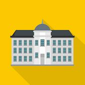 Capital Building Icon. Flat Illustration Of Capital Building Icon For Web poster