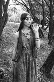 Young Hippie Woman On A Walk In The City Park. Black And White Photo poster