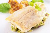 stock photo of pangasius  - Fish fillet with avocado tatar - JPG