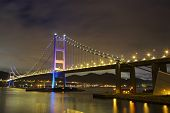 image of tsing ma bridge  - Tsing Ma Bridge at night - JPG