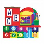 Kindergarten (preschool) Classroom Picture In Flat Style. Fine For Stationary, Preschool Sites And A poster