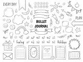 Notebook Doodle Bullet. Hand Drawn Diary Frame, Journal Linear List Borders And Elements. Vector Ske poster